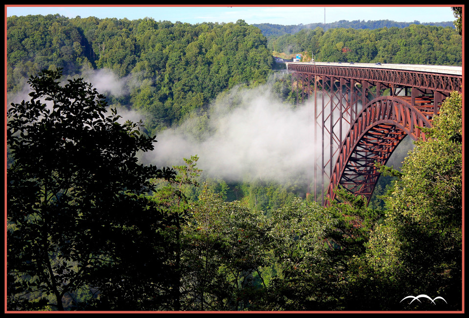 new river gorge bridge mist framed